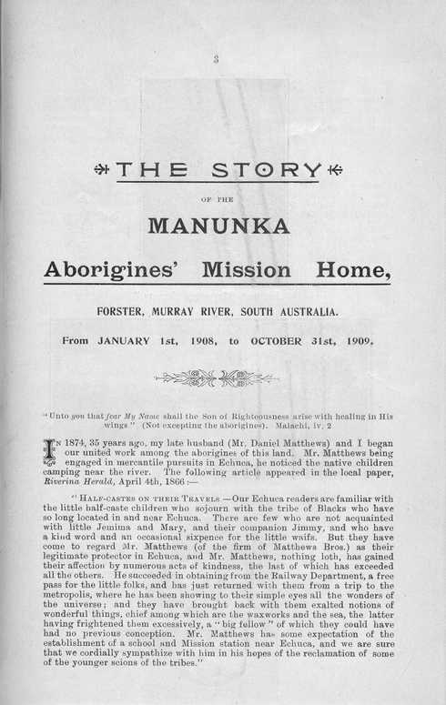 The story of the Manunka Aborigines' Mission Home