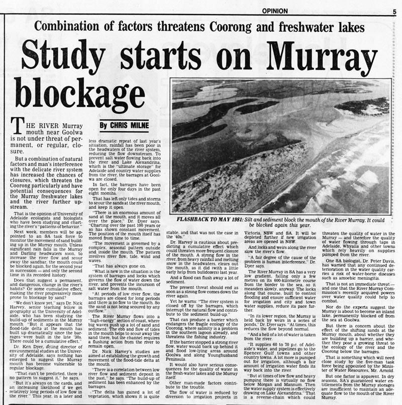Study starts on Murray blockage