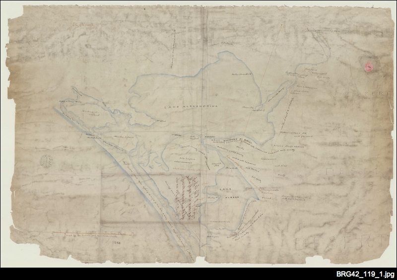 Tracing of lands on banks of Lake Alexandrina [South Australia Company map].
