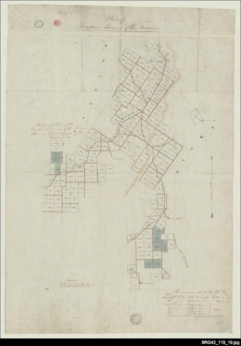 Plan of Eastern Sources of the Torrens [South Australia Company map]