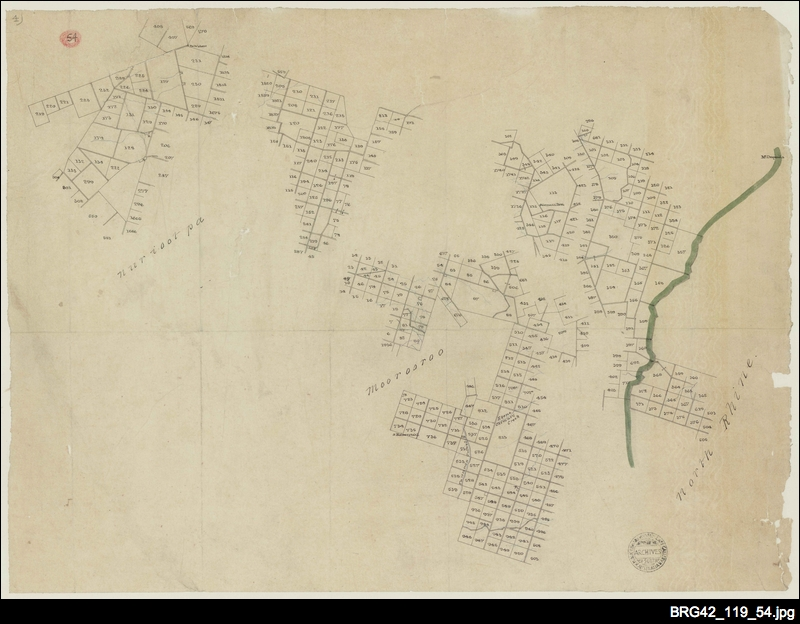 Tracing of sections in the Hundreds of Nuriootpa, Moorooroo and North Rhine (part) [South Australia Company map]