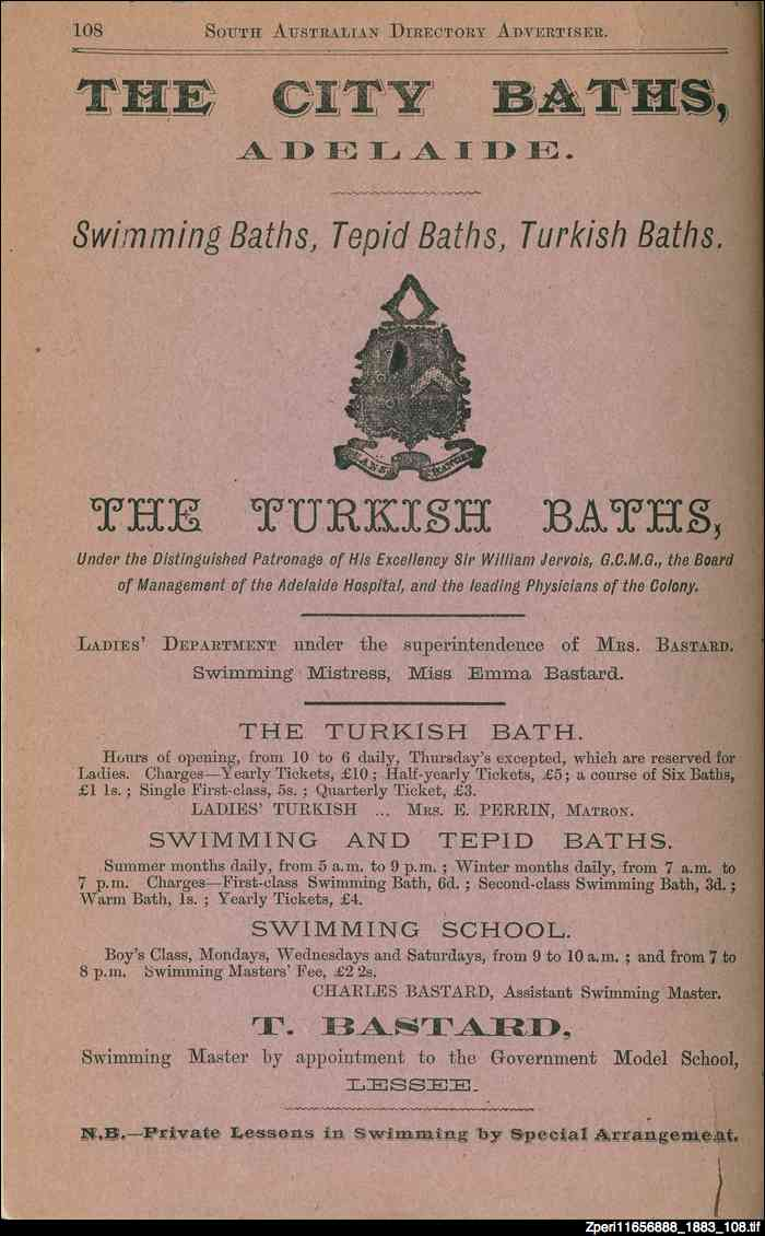 Advertisement for City Baths