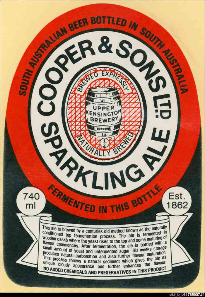 Coopers sparkling ale : beer label