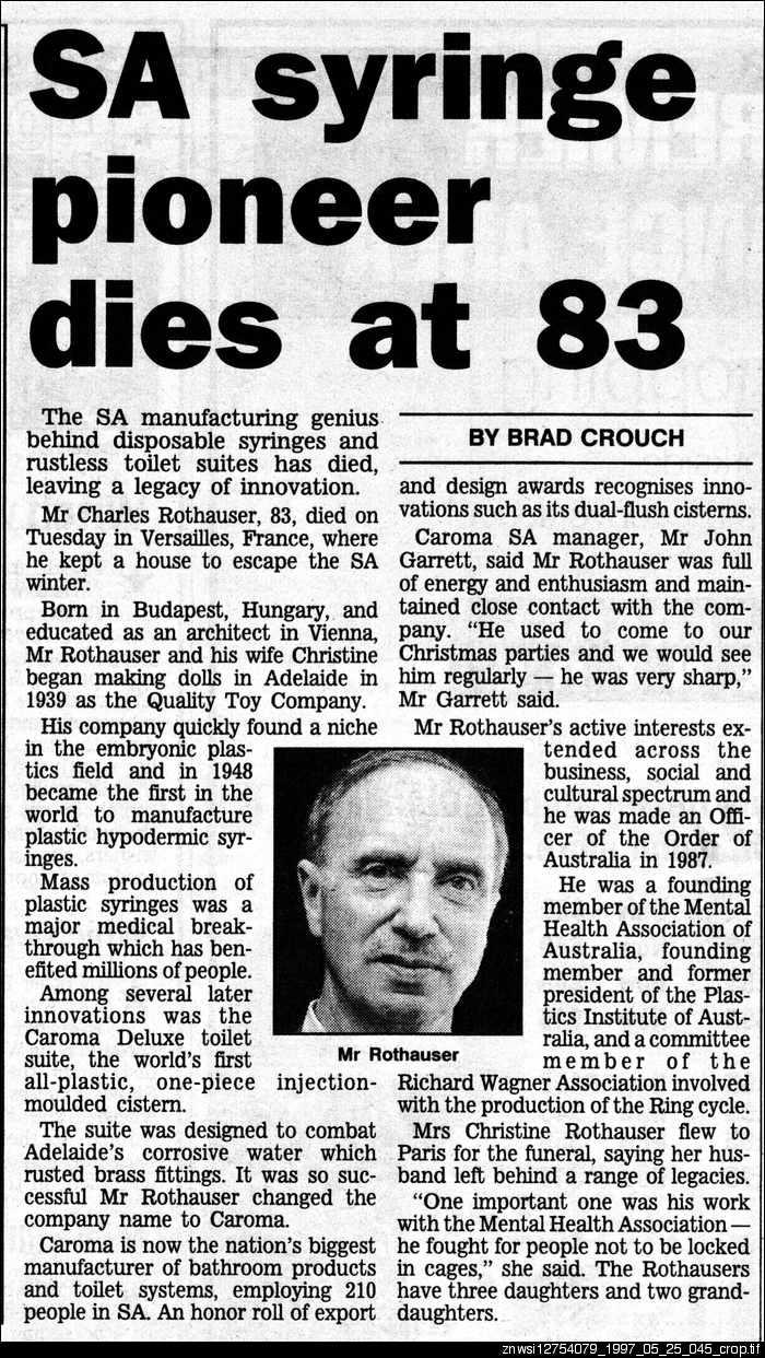 SA syringe pioneer dies at 83