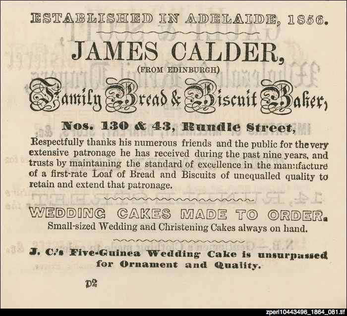 Advertisement for James Calder, family bread and biscuit baker