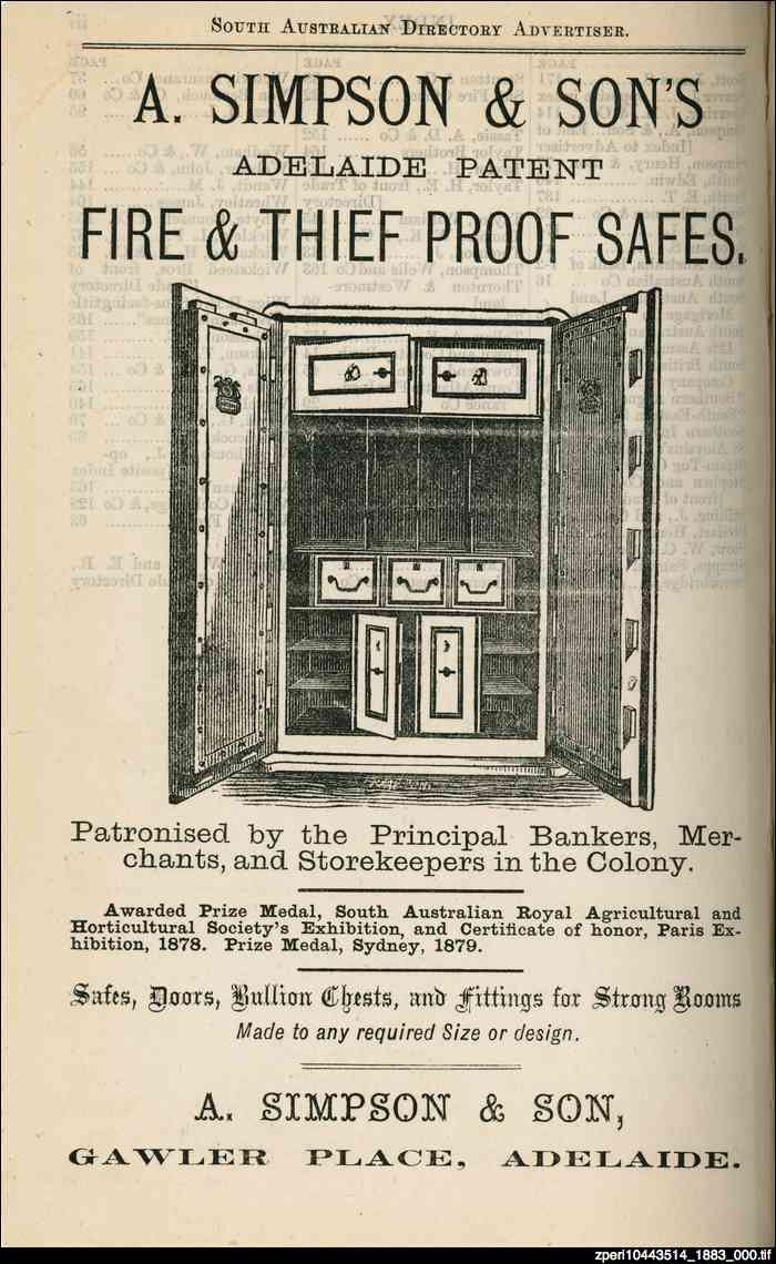 Advertisement for A. Simpson & Son's safes