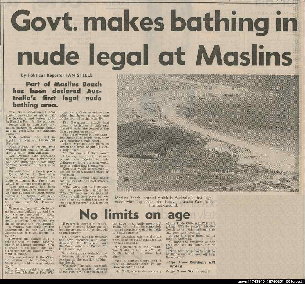 Govt. makes bathing in nude legal at Maslins
