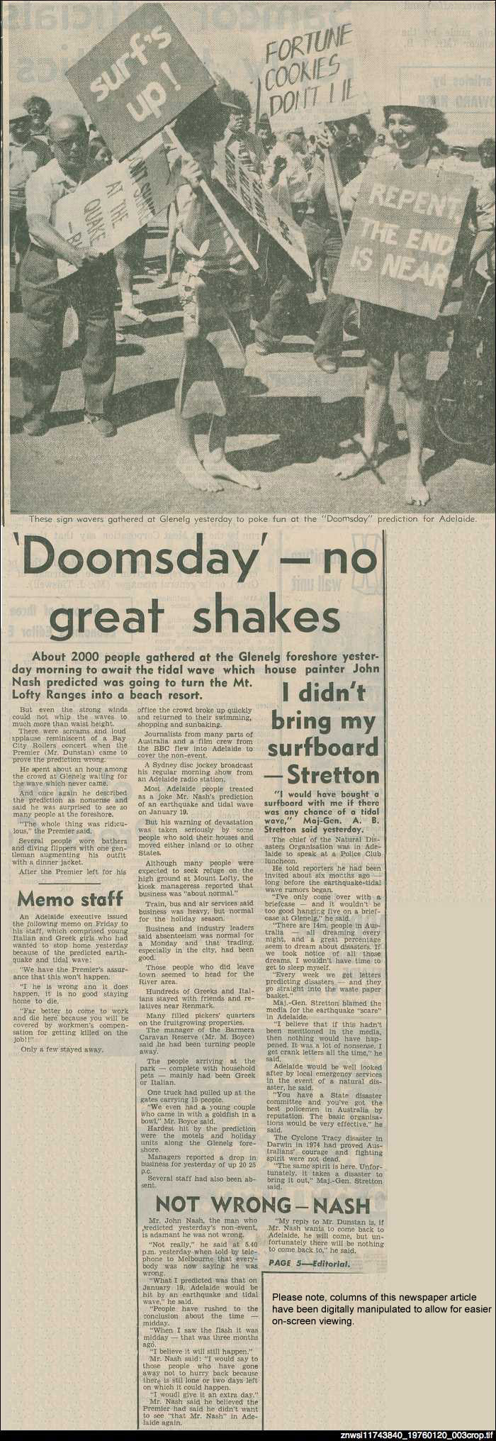 'Doomsday' in Adelaide no great shakes