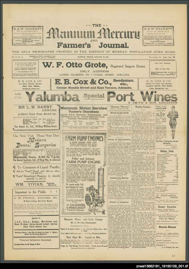Mannum mercury and farmers' journal