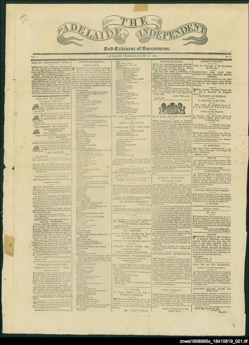 Adelaide independent and cabinet of amusement