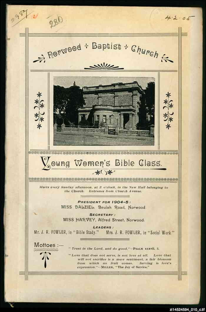 Young Women's Bible Class constitution