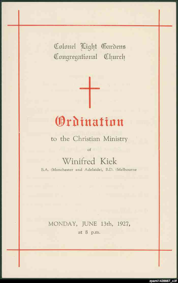 Ordination of Winifred Kiek