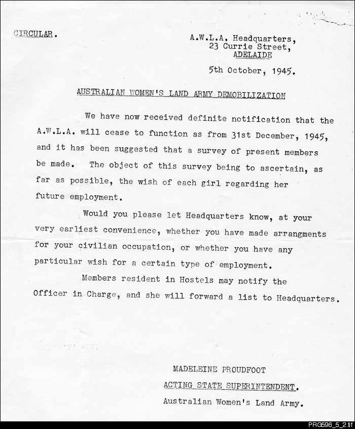 Australian Women's Land Army Demobilization Circular