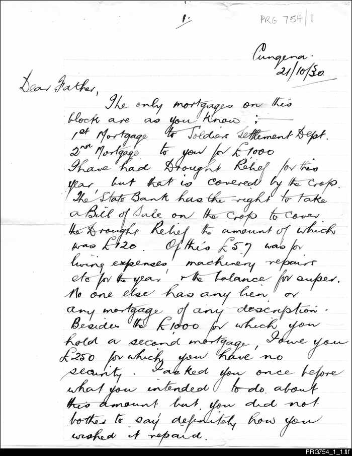Letter from a soldier settler