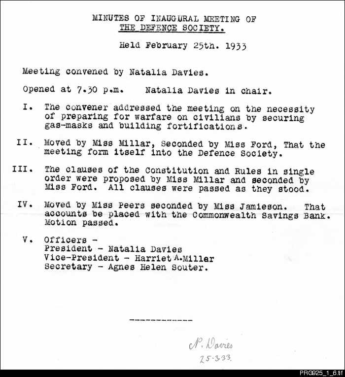 Minutes of the inaugural meeting of the Defence Society