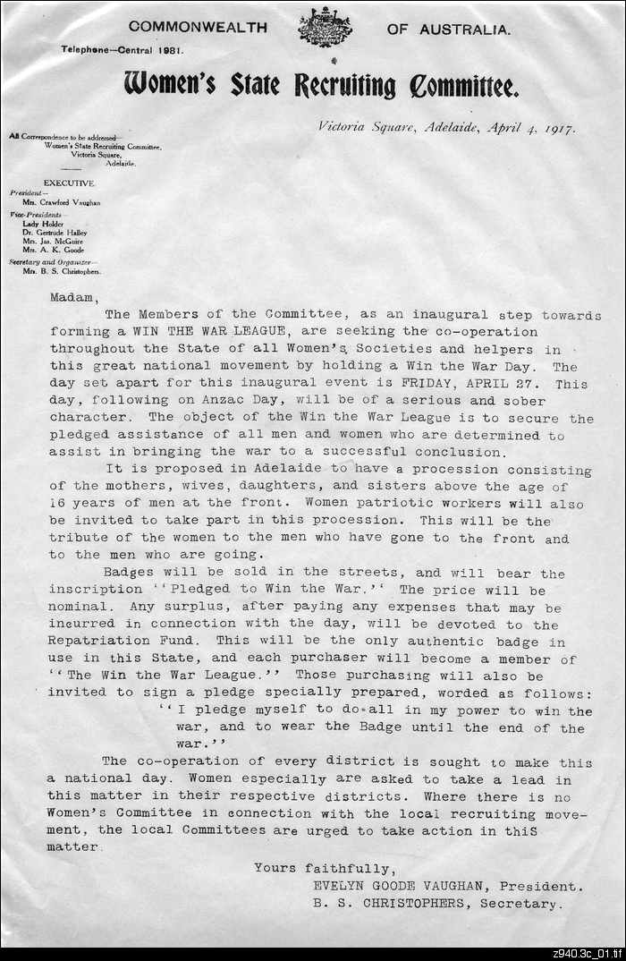Letter about the formation of the Win the War League