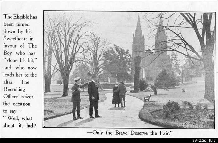 """...Only the brave deserve the fair"": postcard"