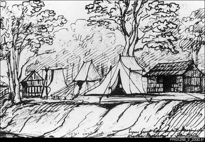 Sketch of Eyre's first camp on the Murray