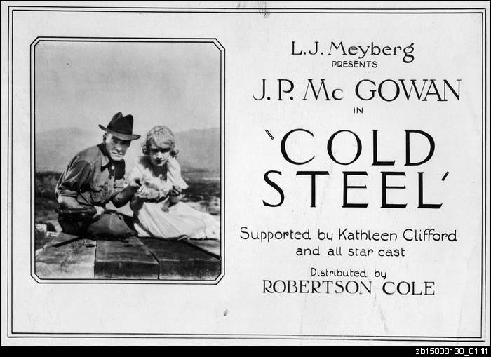 Lobby card for motion picture 'Cold Steel'