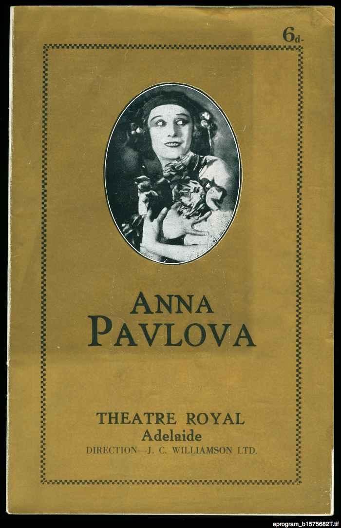 Anna Pavlova: concert program: 1929 performance at the Theatre Royal, Adelaide