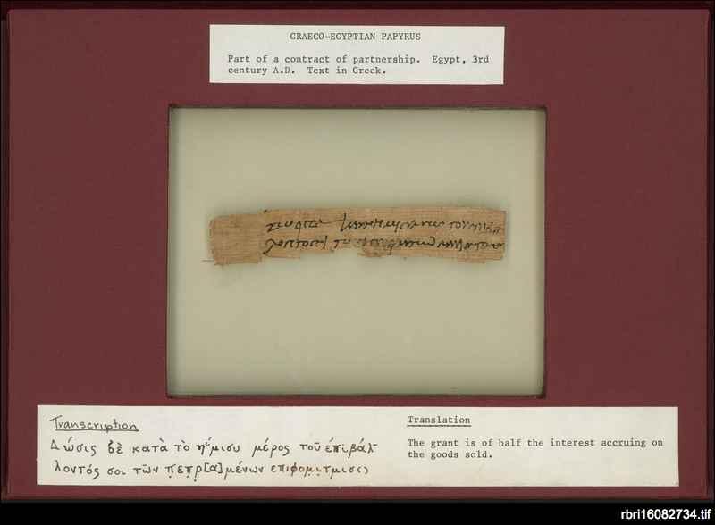 Papyrus manuscript: Graeco-Egyptian