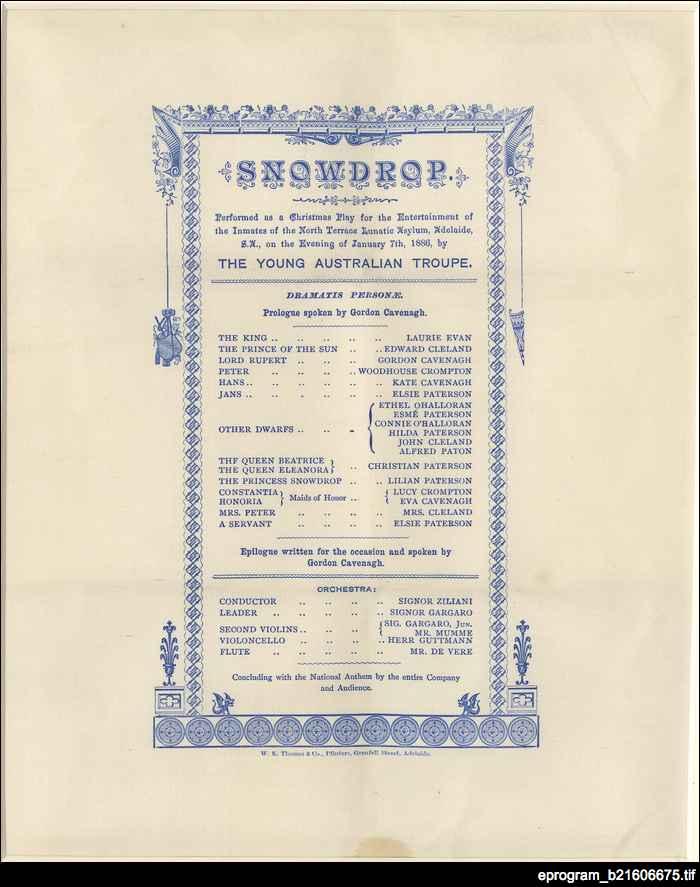Snowdrop : theatre program