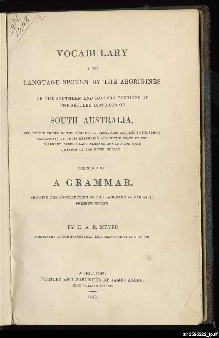 Ngarrindjeri vocabulary and customs