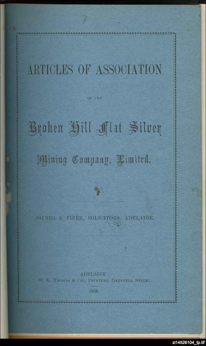 Broken Hill Flat Silver Mine