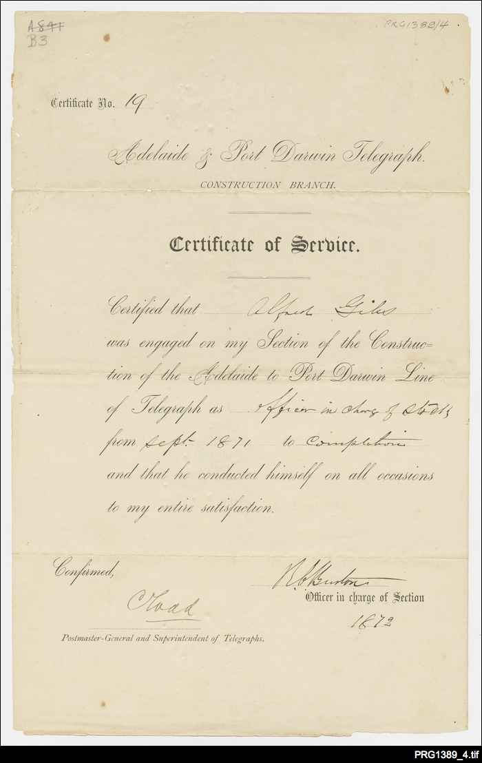 Certificate of service on Overland Telegraph Line