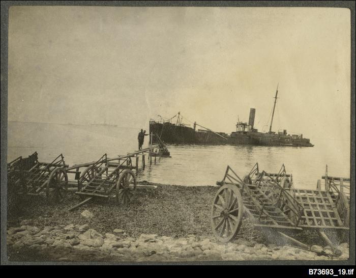 Damaged ship at Gallipoli