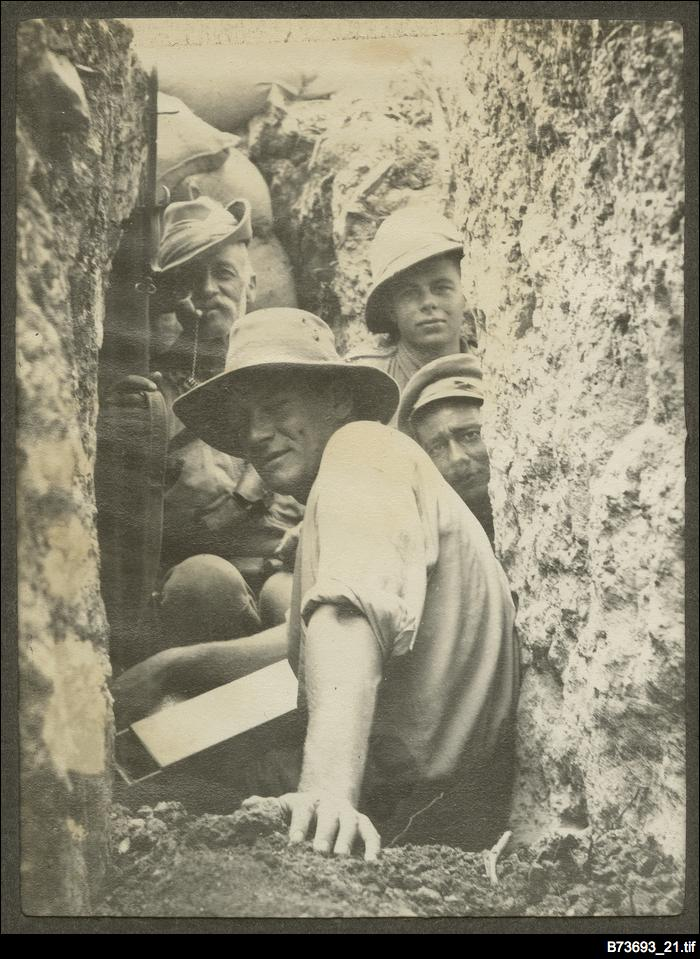 Soldiers in a trench at Gallipoli