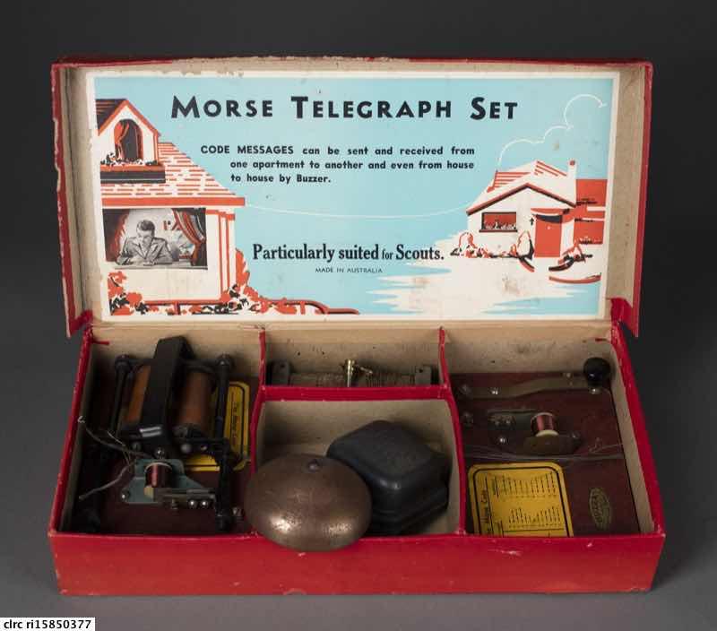 Morse code telegraph set
