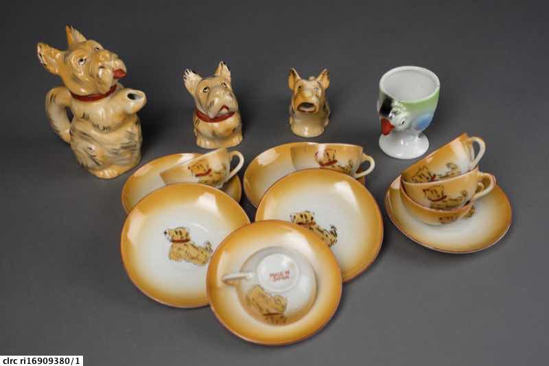 Scottie dog china tea set