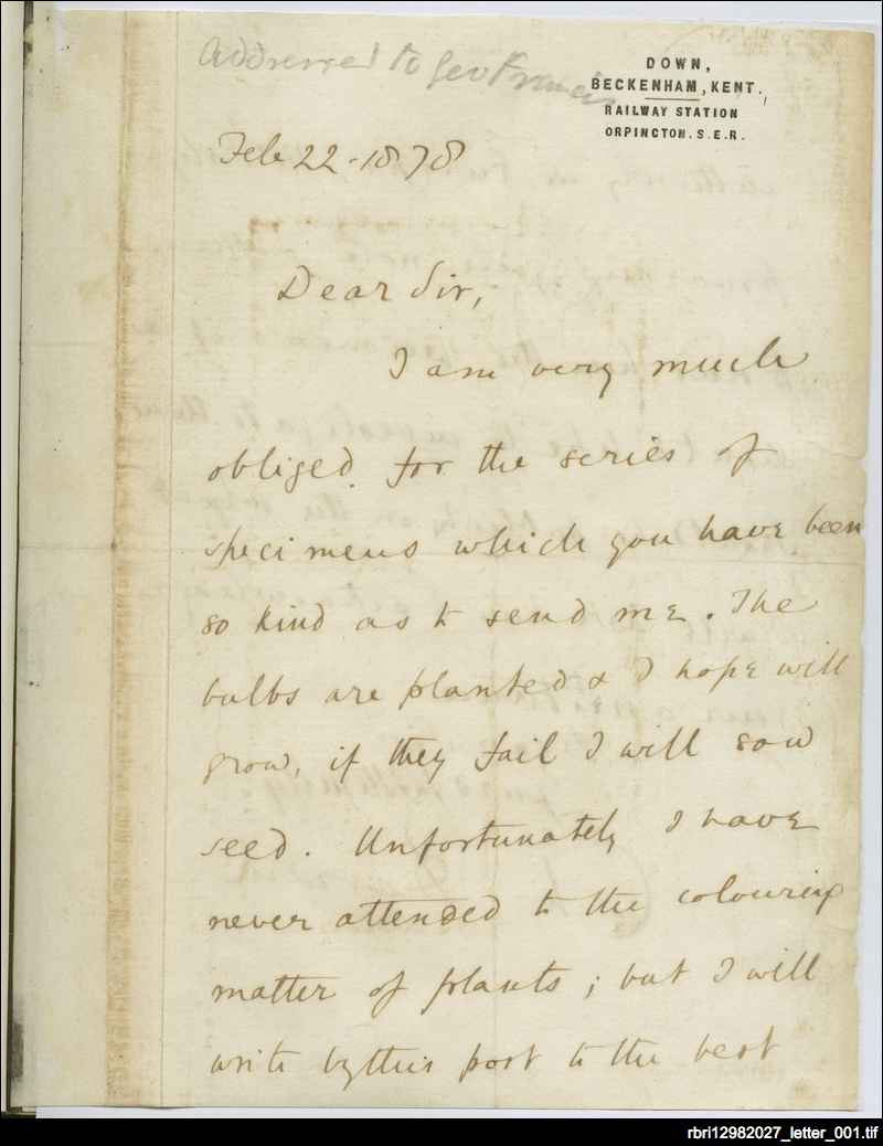 Charles Darwin's letter