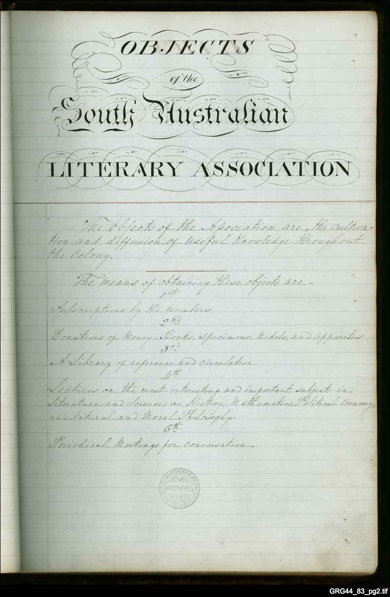 South Australian Literary and Scientific Association Minute Book
