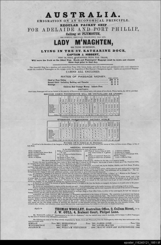 Australia. Emigration on an economical principle. Regular packet ship for Adelaide and Port Phillip...Lady M'Naghten