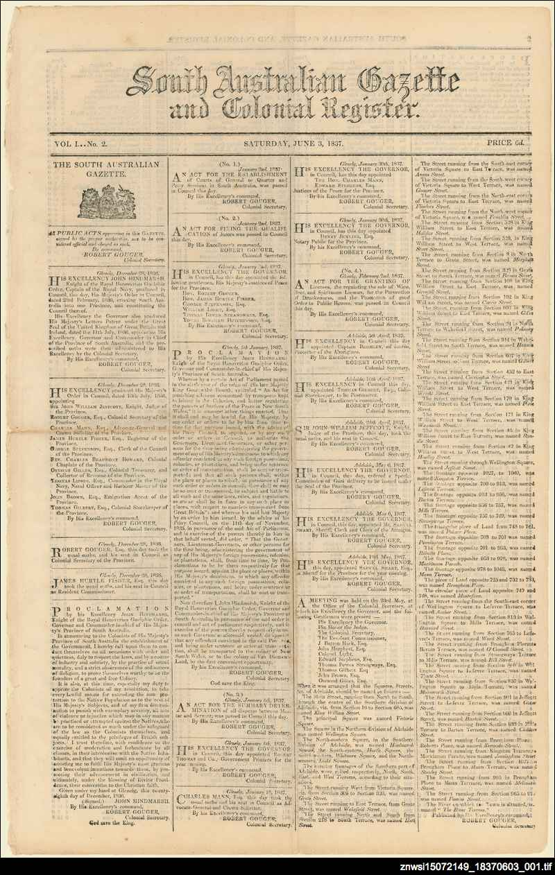 South Australian gazette and colonial register