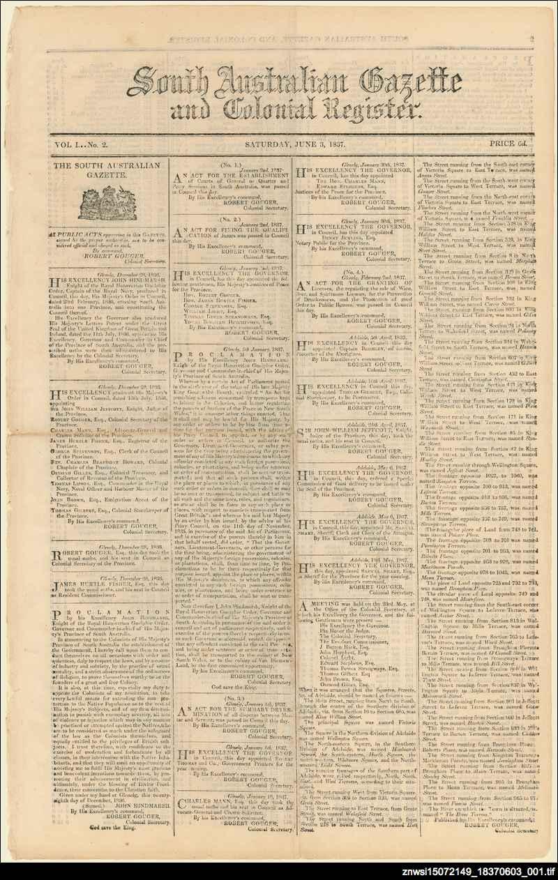 South Australian gazette and colonial register