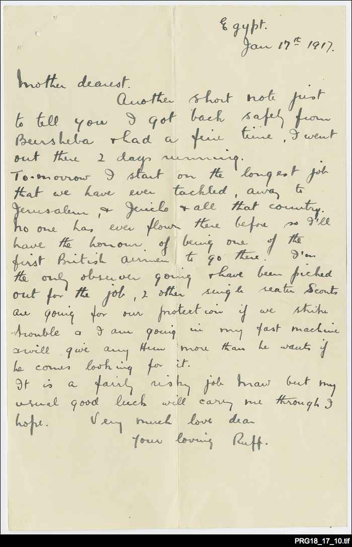 Correspondence from Ross Smith to his mother