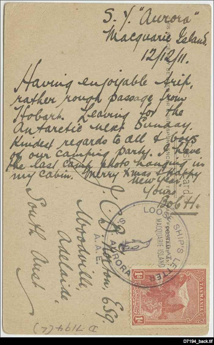 Postcard sent from Macquarie Island