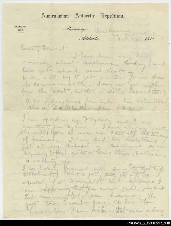 Letter to Paquita Delprat [27 September 1911]