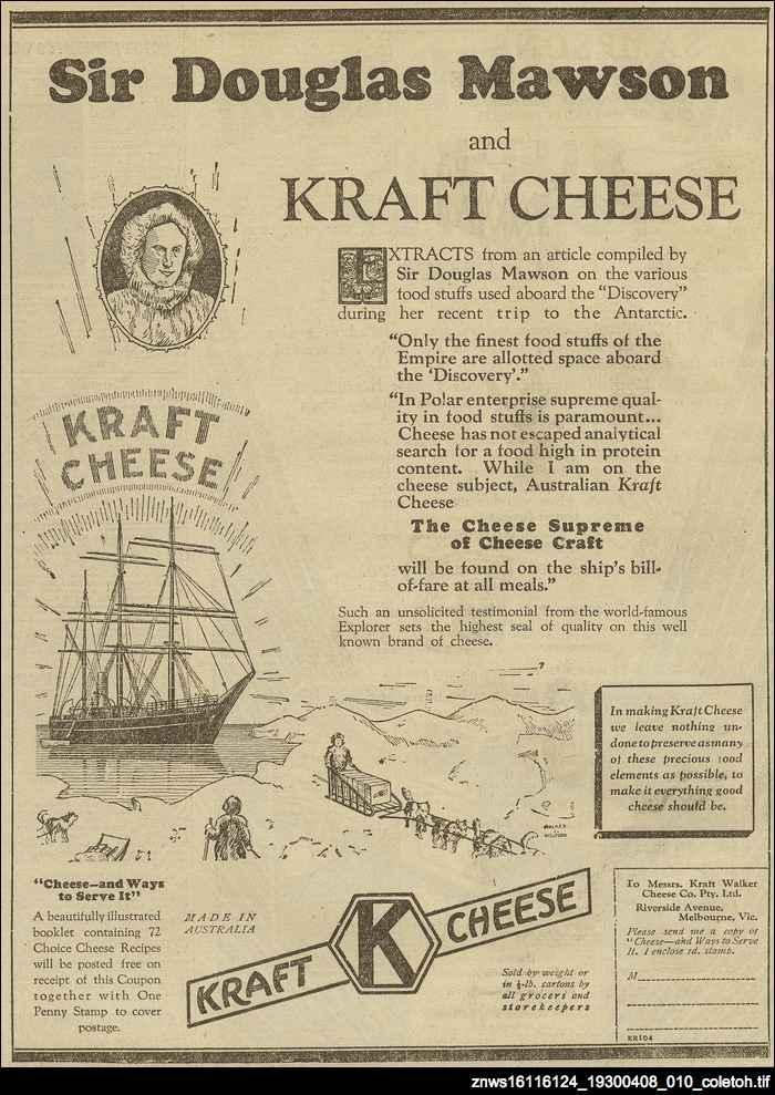 Sir Douglas Mawson and Kraft Cheese