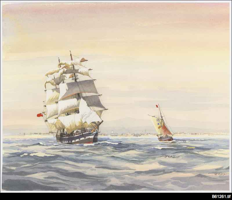 Pilot cutter and mail ship off Semaphore