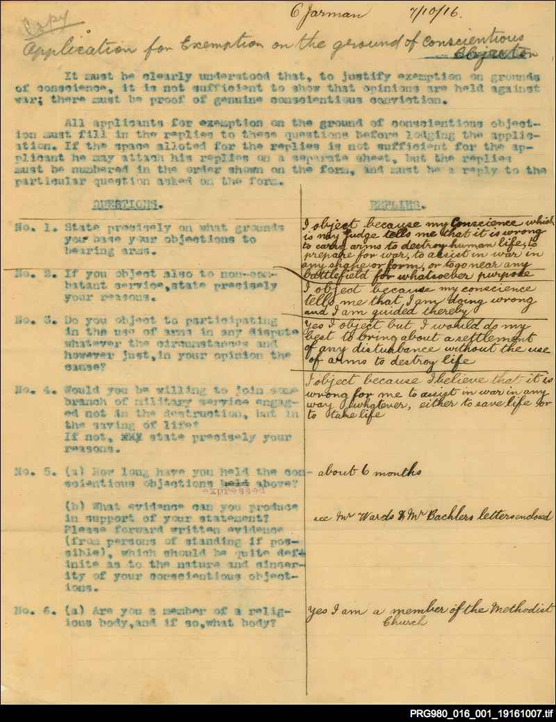 Papers relating to conscientious objection to military service