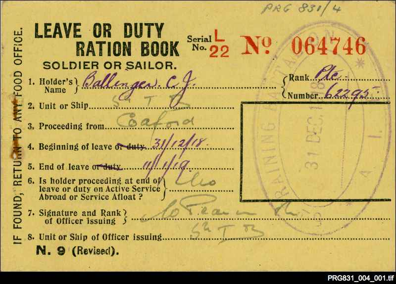 Soldier's ration book