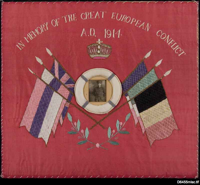 Embroidery of flags commemorating World War One