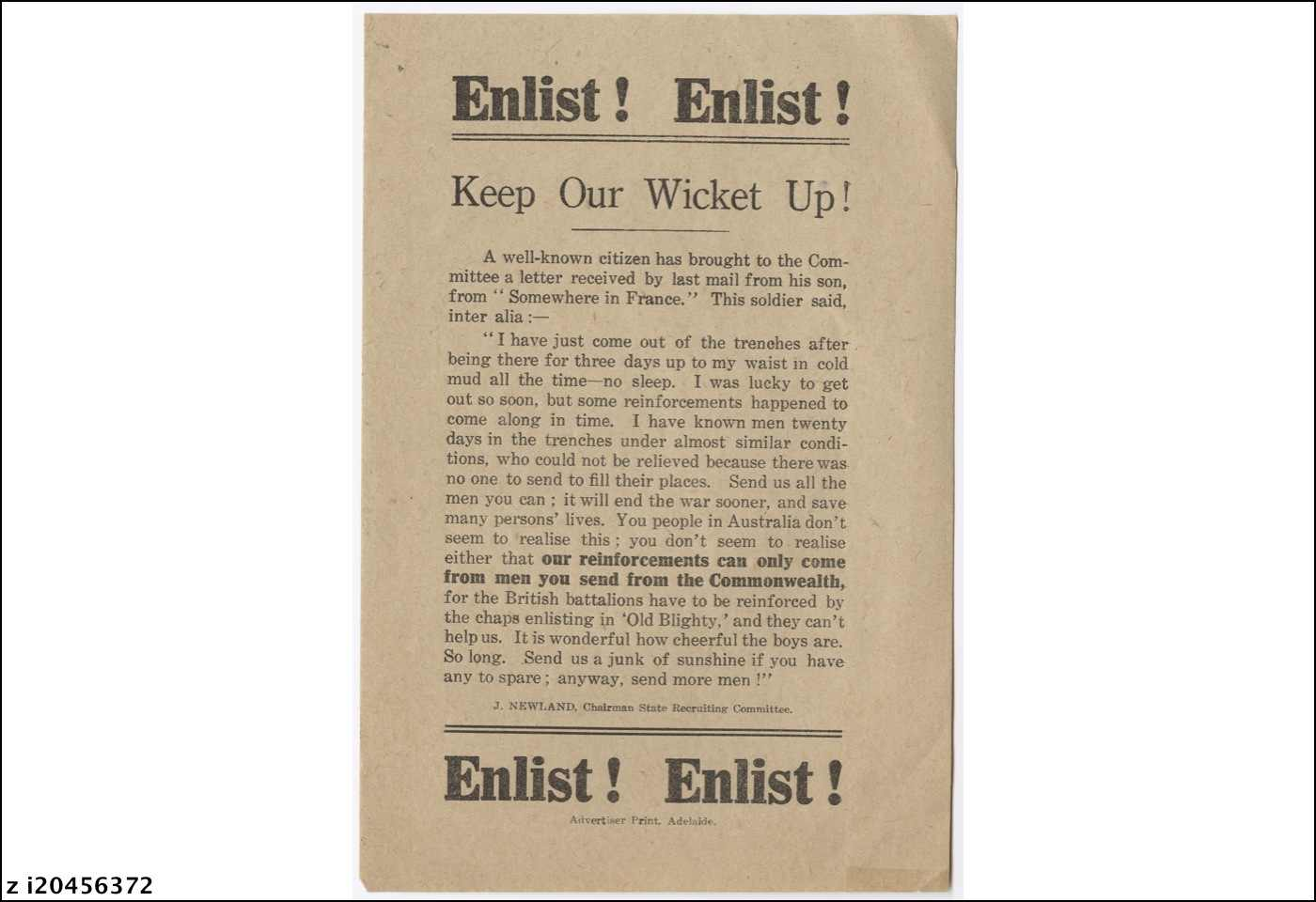 Enlist! Enlist! : keep our wicket up!